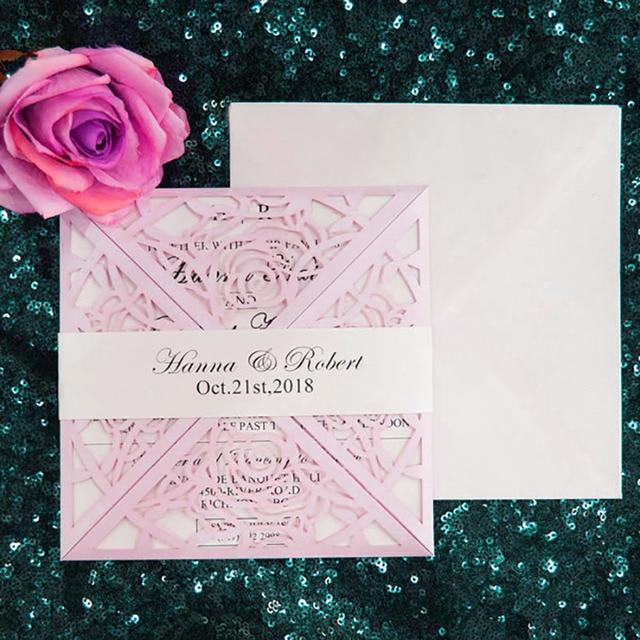 50 Set/Pack 20508 Design Flower Pink Wedding Invitations Rose Blank