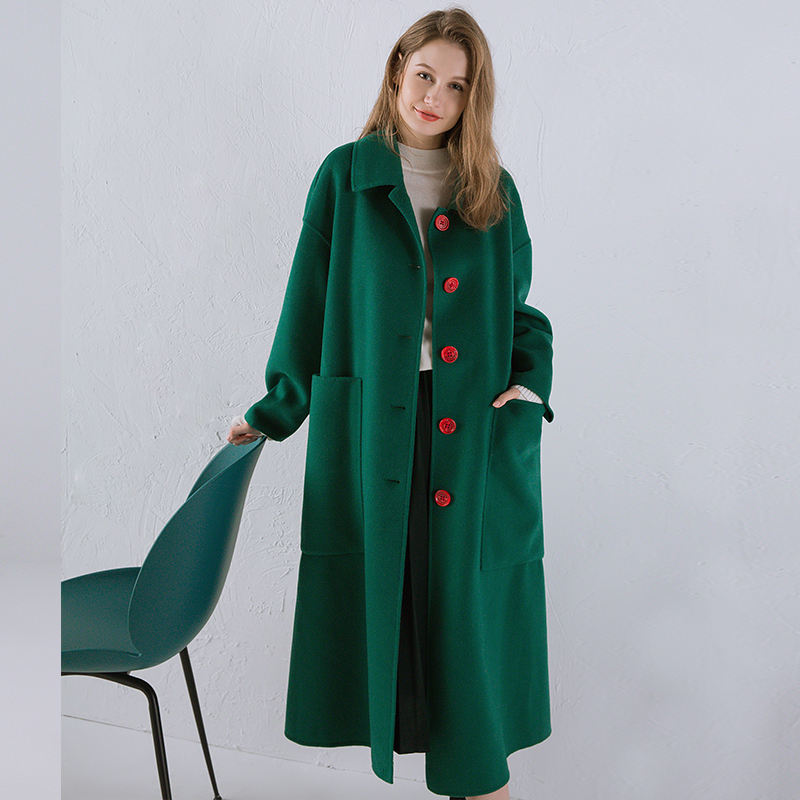 Yoyocathy Inexperienced Double Aspect Wool Lady Coat Winter Doll Collar Outerwear Free Elegant Large Pocket Trend 100% Wool Overcoats
