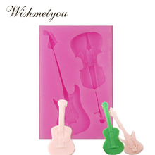 WISHMETYOU Guitar Shape Silicone Cake Mold Small Toys Decorative Tools Chocolate Ice Wedding Decoration