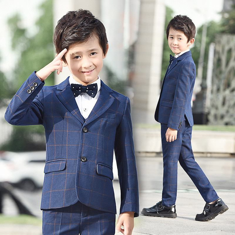 2019 Kids Boy Wedding Birthday Party Suits Baby Boy School Wear Piano Tuxedo Clothes Children Elegant Plaid Blazer 5Pcs Sets Q44