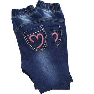 Image 5 - Winter 2018 Fleece Jeans for Children Girls Casual Teenage Thicken Warm Embroidered Trousers 3 12 Years Washing Blue Baby Jeans
