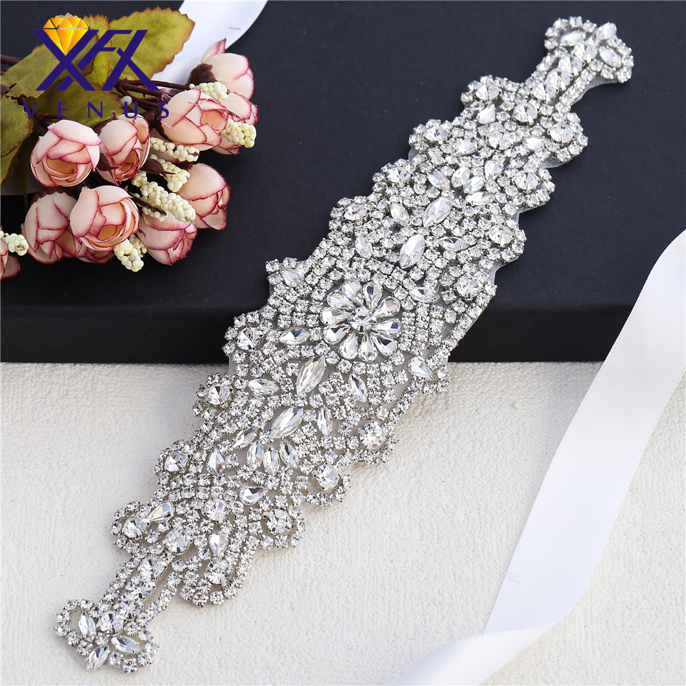 XINFANGXIU 1 pc Gold diamante sewing bridal sash belts garters headbands  rhinestone appliques iron on DIY garment decorations-in Rhinestones from  Home ... bb119f8bcd10