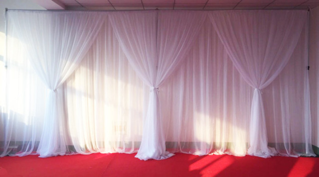 Wedding Birthday Christamas Party White 3m H X6m W Backdrop Curtains With Tapes At Back D In Voile Material