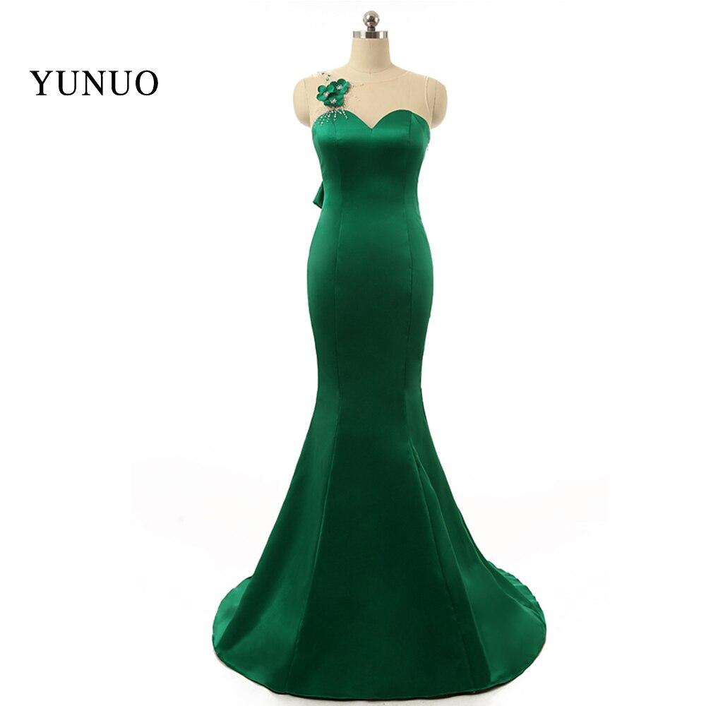 Satin Floor Length Plus Size Sexy Backless One-shoulder Beading Bow Green Evening Dresses Elegant Robe De Soiree X1245