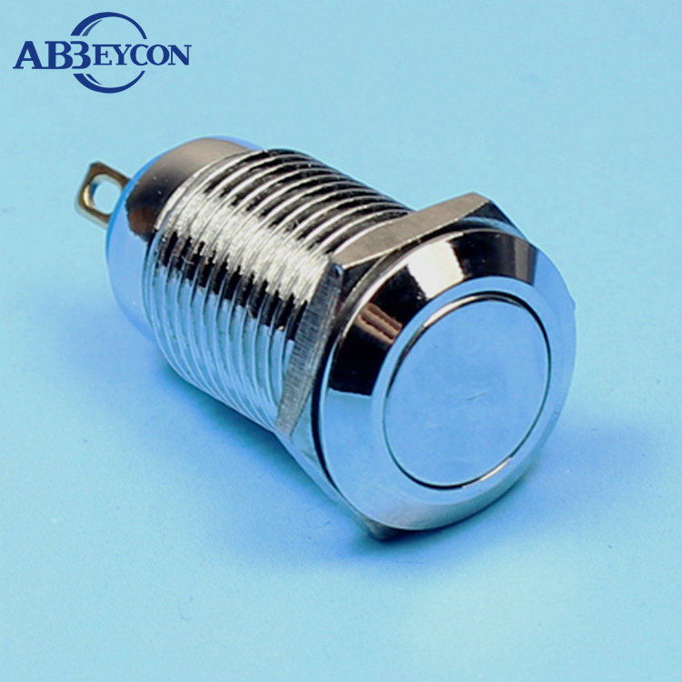 TY 1245 IP65 flat head anti-vandal push button swtich ON-OFF latching 12mm shortest push button switch