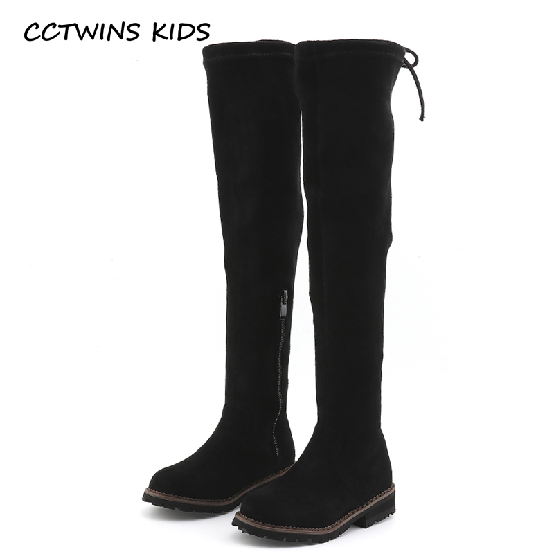 CCTWINS KIDS 2018 Winter Children Brand Flock High Boot Kid Fashion Warm Over-the-Knee Boot Baby Girl Toddler Black Shoe C1137 cctwins kids 2018 winter children brand black knee high boot baby pu leather flat girl fashion warm shoe toddler h057