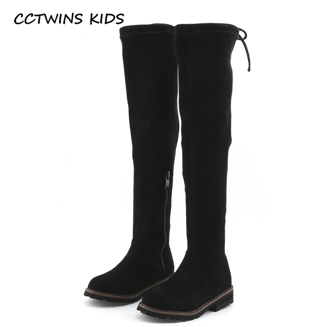 97e24649999 CCTWINS KIDS 2018 Winter Children Brand Flock High Boot Kid Fashion Warm  Over-the-Knee Boot Baby Girl Toddler Black Shoe C1137
