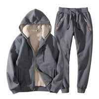 Свободный Зимний спортивный костюм мужской комплект с худи утепленная теплая спортивная одежда больших размеров мужские s Siuts 2019 Новый 7XL 8 xl