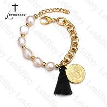 Letdiffery Kwastje Benedictus Medaille Breacelets Gesimuleerde Parel Kralen Link Armbanden Vrouwen Bruiloft Sieraden