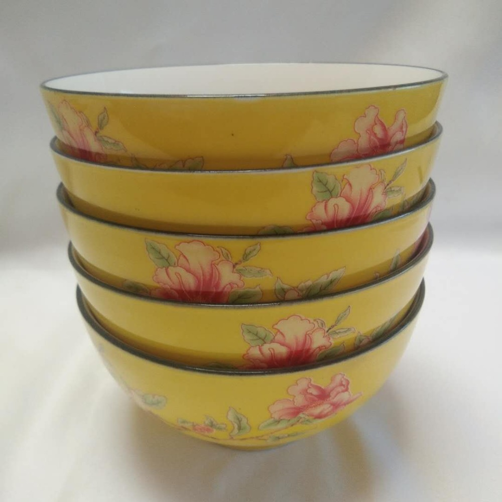 Color glaze blessing word flower boutique fashion home ceramic bowl direct wholesale in Bowls from Home Garden