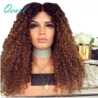 Натуральные волосы 250% супер плотность странный вьющиеся синтетические волосы на кружеве 200% Искусственные парики Ombre коричневый 13*4 предвар