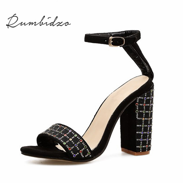 Rumbidzo Sandals Women Shoes 2018 Fashion Crystal High Heels Woman Open Toe Ankle Strap Summer Shoes Thick Heels Sapatos