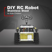 DIY Stainless Steel Remote Control Robot Toys Sliding Block Building Assembled Robot Toy Stand Still for Kids Children Toy Gift