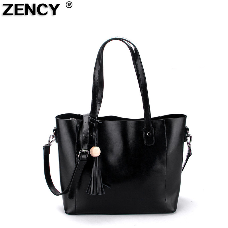 ZENCY Genuine Cowhide Cow Leather Fashion Famous Brand Women Tote Shopping Handbags Female Shoulder Bucket Vintage Causal Bag chispaulo women genuine leather handbags cowhide patent famous brands designer handbags high quality tote bag bolsa tassel c165