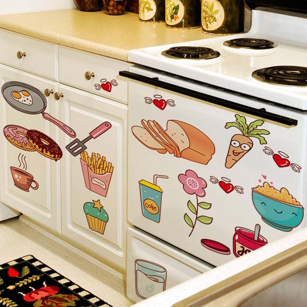 1 шт. мультфильм Кухня двери холодильника Наклейки декоративные Наклейки Еда фрукты съемные стенки Стикеры Наклейки на стене