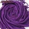 Горячий Новый Фиолетовый Женская Акриловые Мыса Классические Кисточки Осенью зима Мягкая Шали Сплошной Цвет Обруча Размер 180x69 см JS009