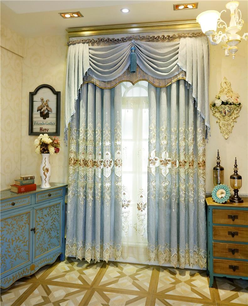 chenille bordado elegante estilo europeo moderno pantallas cortinas cortinas de sombreado dormitorio comedor sala de estar