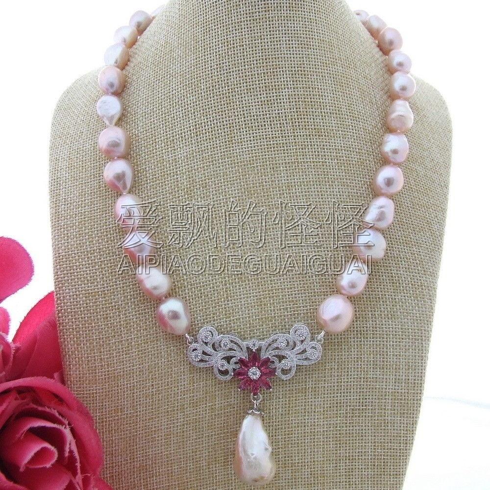 N112407 19'' Keshi Pearl Purple Baroque Pearl CZ Pendant Necklace