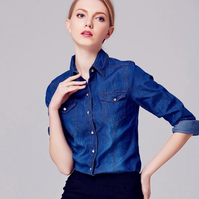 ed031bd584 Camisa Jeans outono Mulheres Manga Comprida Turn-Down Collar Blusa Mulheres  Calça Jeans Feminina Azul