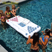 Summer Play Water Inflatable Beer Table Outdoor Games In Pool Floating Mat Drink Cup Holder Pingpiong Ball Water Toys Game Pad