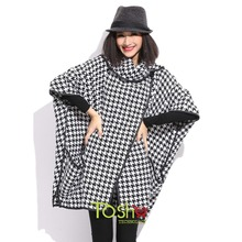 Sale Autumn Women Fashion Bat Chidori Tartan Clothing Casual Grid Dotted Loose Batwing Sleeve Cape Coat Plus Size Free Shipping