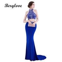 BeryLove Deux Pièces Sirène Robes De Bal 2018 Bleu Royal Col Haut Perlé Robe De Bal Longue Robes De Soirée Formelle Robes De Soirée