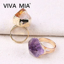 Drusa Amethysts Citrines Purple Quartz Ring Irregular Natural Stone Crystal Druse Jewellery for Women Gold Color Jewelry