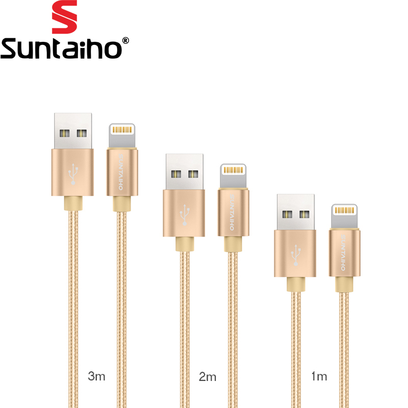 USB Cable For Iphone Lighting USB Cable [3-Pack]1M2M3M ,Suntaiho Nylon USB Cable 5V 2.1 Fast Charging cable for iPhone 7