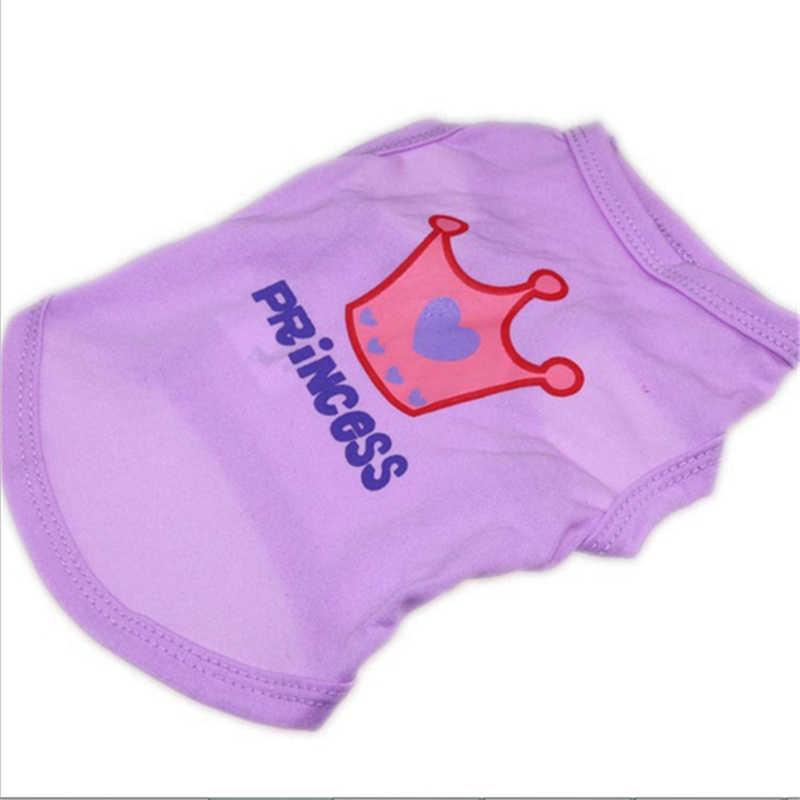 新到着かわいいペット犬服 Tシャツクラウンプリントポリエステル犬のベストプリンセススタイルピンク犬のベスト