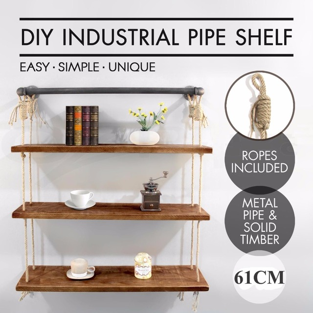 61cm 3 Layers Rustic Iron Pipe Wall Mounted Shelf Wooden Board