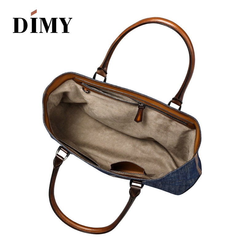 Kapazität Casual Tiefes Handtasche Mode Schulter Dokument Große Nähte Denim Messenger Taschen Tasche Männer Totes Leder Dimy Blau Leinwand qtHEnxa