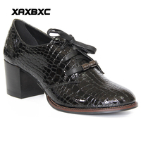 XAXBXC Retro British Style Leather Brogues Oxfords High Heels Women Shoes Shallow Lace Up Thick Heel Handmade Casual Lady Shoes
