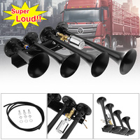 12V / 24V 185dB Super Loud Four Trumpet Air Horn for Car Vehicle Truck Train Boat Bikes Motorcycle