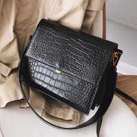 Moda europeia simples designer bolsa feminina 2018 nova qualidade de couro do plutônio bolsa feminina tote jacaré ombro crossbody sacos