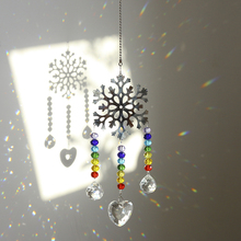 H&D Crystal Suncatcher Chakra Colors Beads Snowflake Window Hanging Ornament Rainbow Sun Catcher for Christmas Day,Wedding Decor