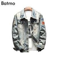 Batmo 2018 New Arrival Spring High Quality Spliced Casual Denim Jacket Men Men S Casual Jakcet