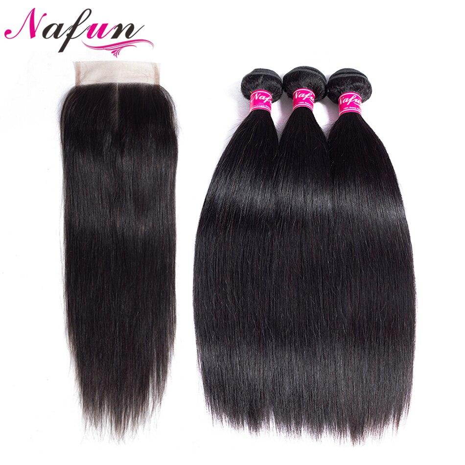 NAFUN Hair Malaysian Straight Hair Weave 3 Bundles With 4 4 Lace Closure 100 Human Natural