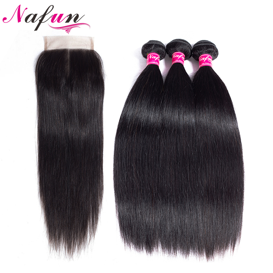 NAFUN Hair Malaysian Straight Hair Weave 3 Bundles With 4*4 Lace Closure 100% Human Natural Color Non Remy Hair Extensions