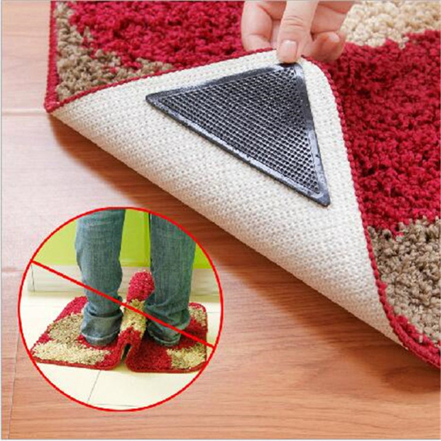 2pairs Non Slip Rug Carpet Mat Grippers Anti Skid Corners Pad For Bathroom Kitchen Living Room Silicone