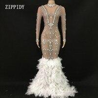 Сверкающие кристаллы прозрачное Сетчатое длинносоставные платья с перьями на день рождения, празднование камней платье с бахромой костюм