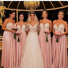 2017 Pink Elegant Bridesmaid Dresses Sexy Sweetheart Lace Appliques Beaded Long Satin Maid Of Honor Gowns Wedding Guest Dress