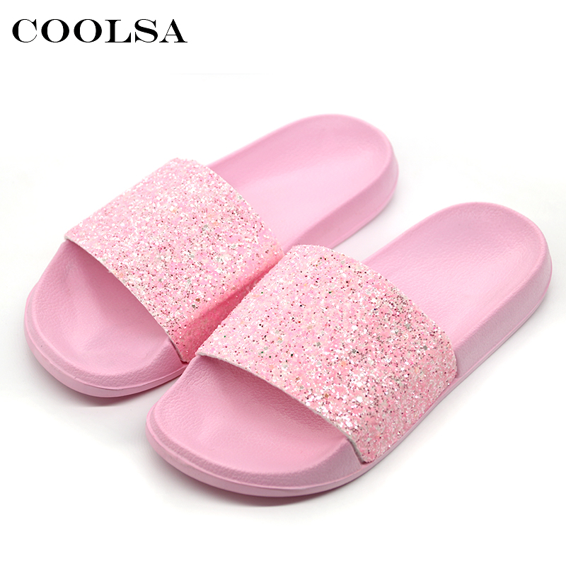 COOLSA Nytt Sommar Kvinnors Tofflor PU Bling Bling Slides Flat Soft Bottom Sandals Hem Flip Flops Kvinna Knacka Casual Beach Shoes