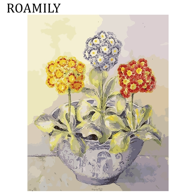 Roamily Frameless Lovely Gold Purple Red Flower Potted Plant Acrylic Oil Painting On Canvas