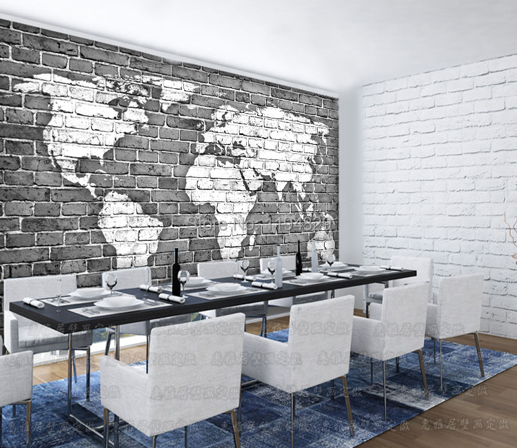 3D Old Gray Brick Wall World Map Large Mural Wallpaper TV Sofa Sitting Room Photo Wallpapers Used For Living Book In From Home
