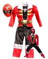 Высокое качество дети красный синий мышцы Мощный костюм Ranger костюм маска брад warrior онлайн костюм одежды малыша