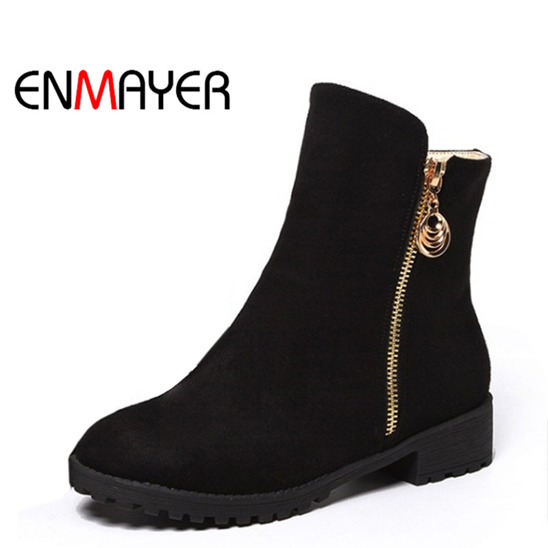 ENMAYER 2017 New Fashion Boots Women Black Red Ankle Boots Zippers Round Toe Platform Shoes for Ladies Causal Women's  Boots enmayer woman high heel ankle boots round toe zippers shoes women large size platform boots warm shoes for ladies black white