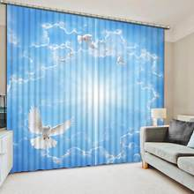customize home goods curtains White dove bedroom Living Room blackout curtain 3d curtains(China)