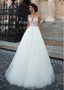 Image 4 - Charming Tulle Wedding Gowns Sleeveless O Neck A Line Dresses with Appliques Sexy Illusion Design Bridal Gowns Cheap
