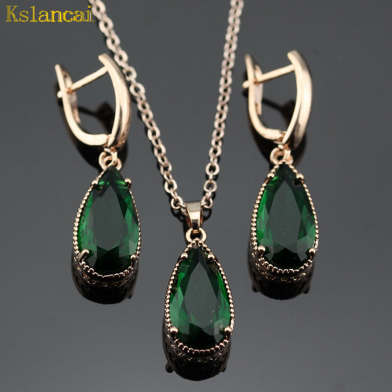 LAN Water Drop Shaped Rose Gold Jewelry Sets Green Stone AAA Zircon For Necklace&Pendant /Earrings For Women Party Free Shipping pair of sweet simply designed water drop pattern pendant earrings for women