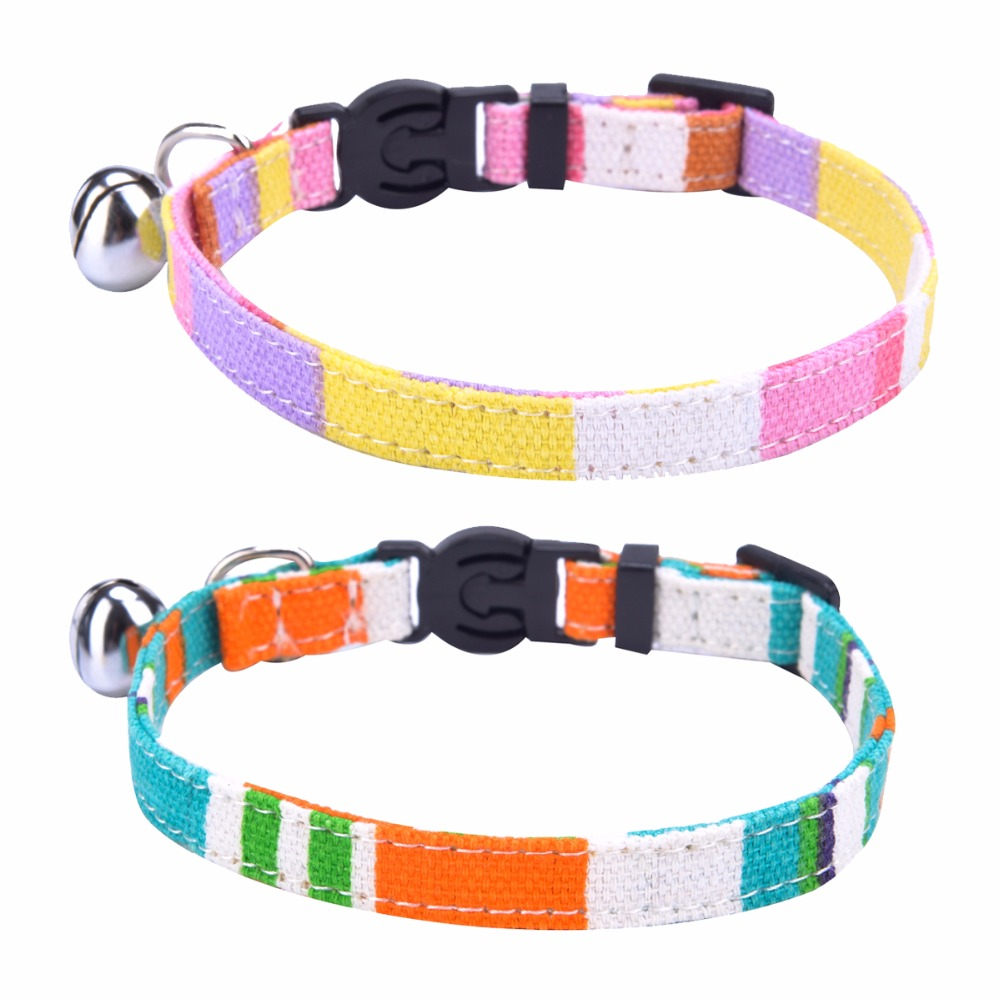 2 pcs set breakaway cat collar rainbow canvas personalized safe kitten puppy collars with bell. Black Bedroom Furniture Sets. Home Design Ideas